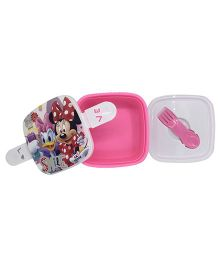 Funcart Minnie & Donald Duck Lunch Box With Fork Spoon - Pink & White