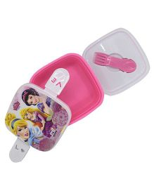 Funcart Disney Princess Lunch Box With Fork Spoon - Pink & White