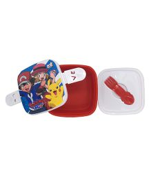 Funcart Pokemon Lunch Box With Fork Spoon - Red & White
