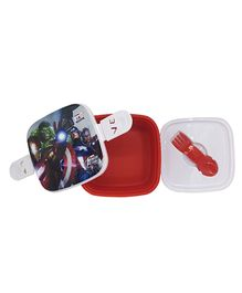 Funcart Marvel Avengers Lunch Box With Fork Spoon - Red & White