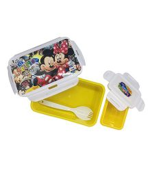 Funcart Mickey & Friends Lunch Box With Fork Spoon - Yellow White