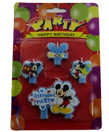 Funcart Cake Topper Candle Mickey Shape Pack of 4 - Blue