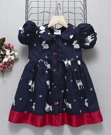 Mom'S Girl Peter Pan Collar Deer Printed Frock - Navy Blue