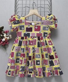 Mom'S Girl Puff Sleeves Gathered Printed Dress - Yellow