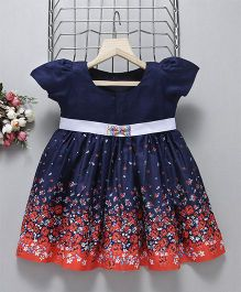 Mom'S Girl Floral Ombre Printed Puff Sleeve Frock - Navy Blue & Orange