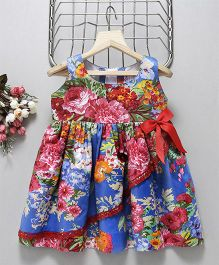 Mom'S Girl Floral Print Sleeveless Frock With Bow - Blue & Red