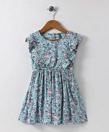UCB Short Sleeves Floral Frock - Blue