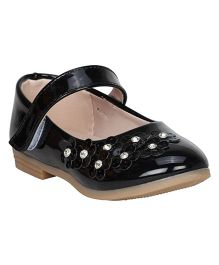 Buckled Up Ballerinas With Studded Flowers - Black