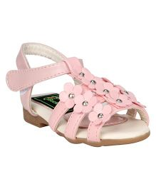 Buckled Up Studded Flower Sandal - Pink