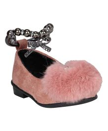 Buckled Up Fur Ball Ballerina With Anklet And Buckle - Blush Pink