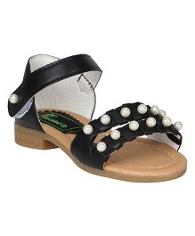 Buckled Up Pearl Sandals - Black