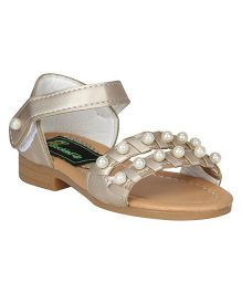 Buckled Up Pearl Sandals - Golden