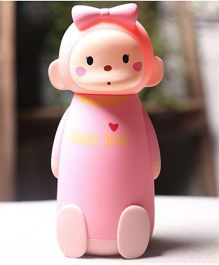Kidofash Monkey Girl Theme Water Bottle 260 ML - Pink