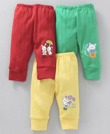 Cucumber Full Length Lounge Pant Teddy & Bunny Print Pack of 3 - Red Yellow Green
