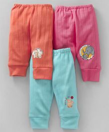Cucumber Full Length Lounge Pant Teddy & Elephant Print Pack of 3 - Pink Orange Blue
