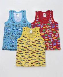 Cucumber Sleeveless Vests Pack of 3 (Print & Color May Vary)