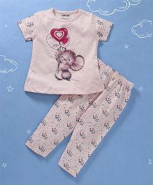 Cucumber Half Sleeves Top & Pajama Mouse with Balloon Print - Pink