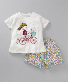 Cucumber Half Sleeves Night Suit Cycle & Flower Print - White Blue