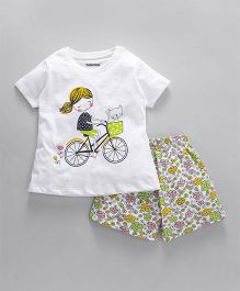 Cucumber Half Sleeves Night Suit Cycle & Flower Print - White Green