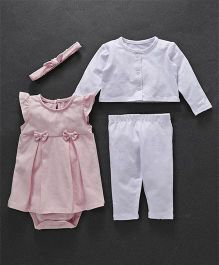 Fox Baby Full Sleeves Multi Piece Set - White & Pink