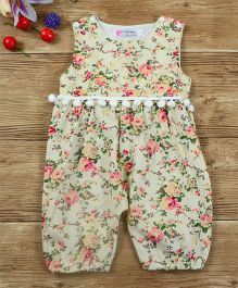 Pre Order - Awabox All Over Floral Print Romper - Cream