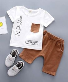 Pre Order - Awabox Tee With Pocket & Shorts Set - Brown