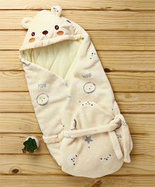 Baby Hooded Wrapper Teddy Bear Face - Cream