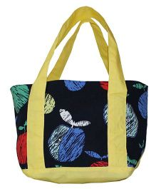 Kadambaby Tote Lunch Bag Apple Print - Navy Blue