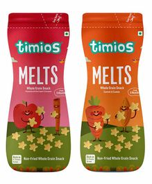 Timios Melts Mix Flavors Apple Cinnamon Carrot & Cumin Whole Grain Snacks - Pack of 2