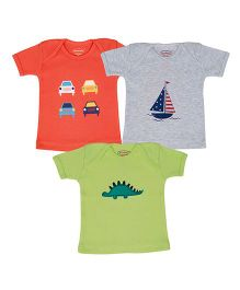 Grandma's T-shirt Printed pack of 3 - Grey Orange & Green