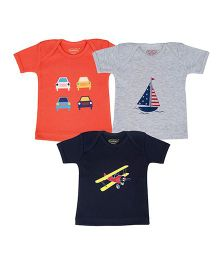Grandma's T-shirt Printed pack of 3 - Navy Blue Grey & Orange