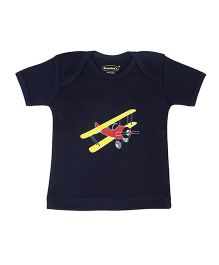 Grandma's Airplane Printed T-Shirt - Navy Blue
