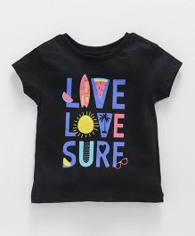 Vitamins Short Sleeves Top Surf Print - Black