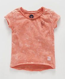Vitamins Short Sleeves Top Embellished Tree Design - Coral