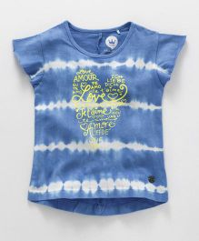 Vitamins Short Sleeves Tie Dye Top Amour Print - White Blue