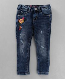Vitamins Full Length Denim Distress Jeans Floral Embroidery - Dark Blue