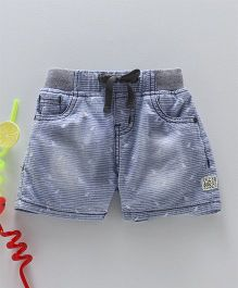 Gini & Jony Denim Stripe Shorts With Drawstring - Light Blue