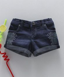 Gini & Jony Denim Shorts Embroidery - Dark Blue