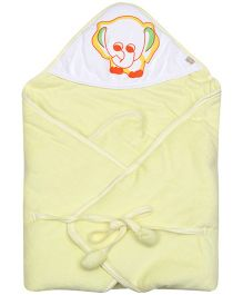 Tinycare Hooded Baby Yellow Towel With Elephant Print
