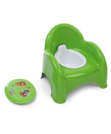 Potty Chair With Backrest Bear & Puppy Print - Green