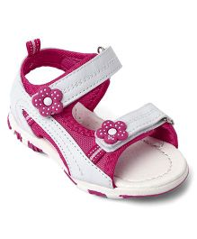 Cute Walk Baby by Babyhug Sandals Floral Patch - White & Pink