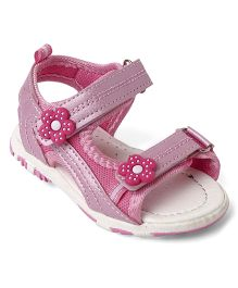 Cute Walk Baby by Babyhug Sandals Floral Patch - White & Light Pink