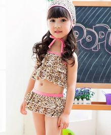 Dazzling Dolls 2 Piece Leopard Print Swimsuit With Cap - Brown