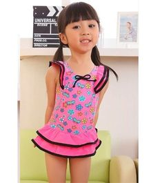 Dazzling Dolls Printed Butterfly Sleeves One Piece Swimsuit With Cap - Pink