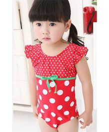 Dazzling Dolls Polka Printed One Piece Swimsuit With Cap - Red