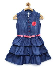 StyleStone Denim Tiered Rose Patch Dress With Belt - Dark Blue