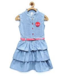 StyleStone Denim Tiered Rose Patch Dress With Belt - Light Blue