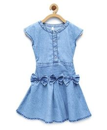 StyleStone Denim Smocked Waist And Bow Dress - Light Blue