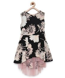 StyleStone Floral Dress With Net Inset & Hi Lo Hemline - Black & Light Pink