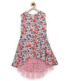 StyleStone Floral Dress With Net Inset & Hi Lo Hemline - Multicolor & Pink